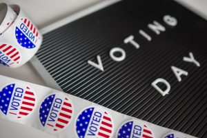 Picture of Voting Date and I voted stickers