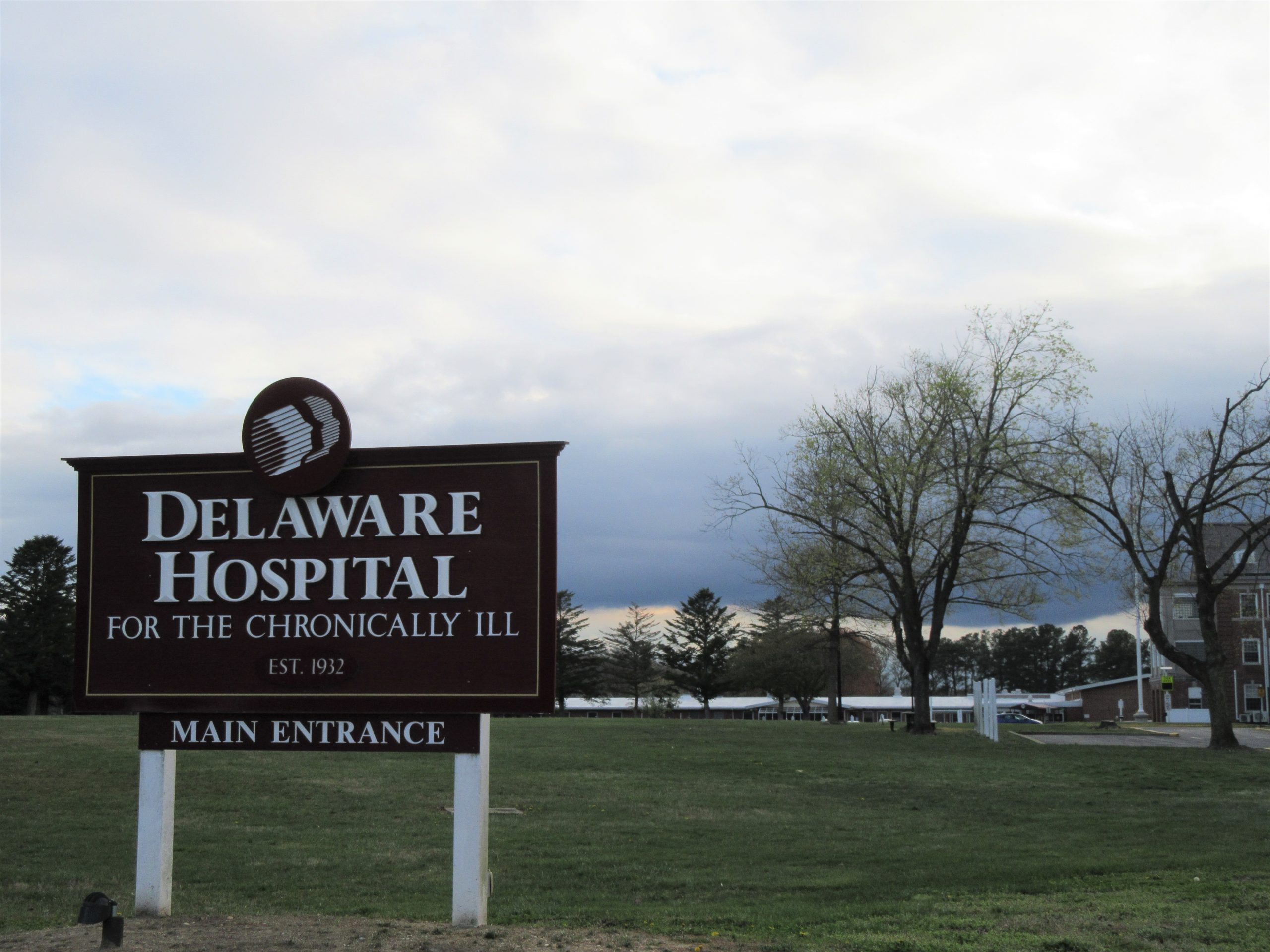 Sign for the main entrance of the Delaware Hospital for the Chronically Ill