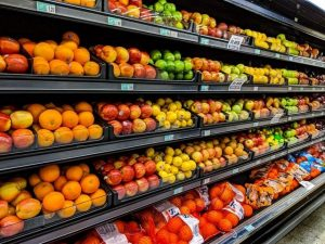 fresh fruit in grocery store