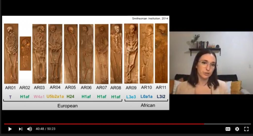 "Screenshot from Raquel Fleskes' presentation ""Results of the Avery's Rest Bioarchaeological Investigations"""