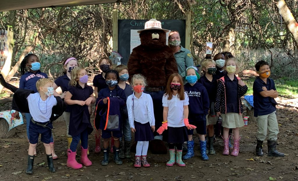 Smokey Bear and Ashley Melvin at St. Anne's School