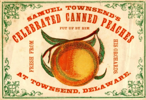 Photo of a label for Townsend's canned peaches