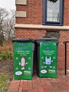 Photo of recycling receptacles outside the Zwaanendael Museum