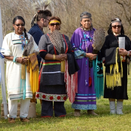Photo of four female mrmbers of the Lenapé Indian Tribe of Delaware's Elders Council