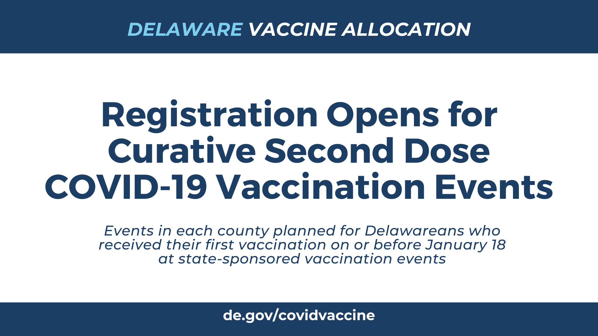 TODAY: Registration Opens for Curative Second Dose COVID-19 Vaccination Events - State of Delaware News - news.delaware.gov