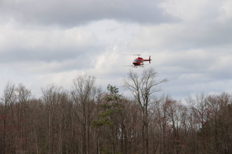 A helicopter contracted by DNREC Mosquito Control sprays for Woodland Pool mosquitoes