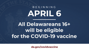 Beginning April 6, all Delawareans 16+ will be eligible for the COVID-19 Vaccine