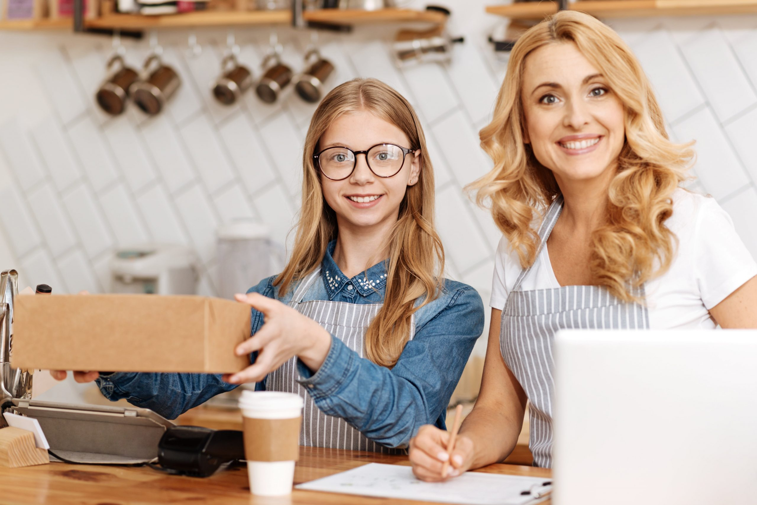 Teen Working in coffee shop