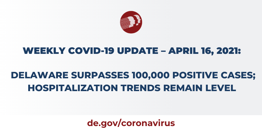 April 16,2021: Delaware Surpasses 100,000 Positive Cases; Hospitalization Trends Remain Level