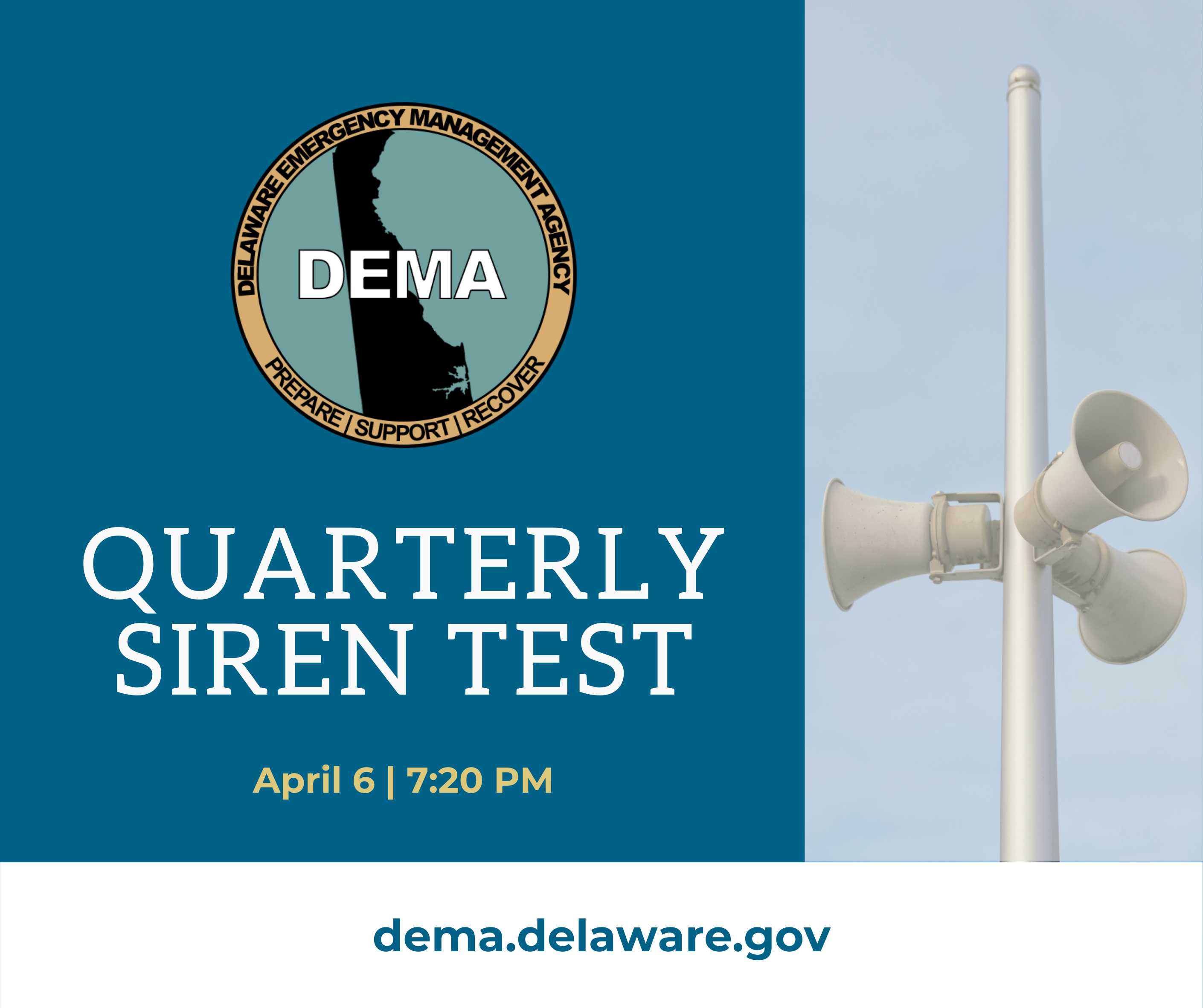 "Photo of an emergency siren reading ""Quarterly Siren Test"""