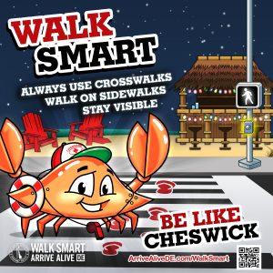 Cheswick the Crab Crosswalk pedestrian safety creative