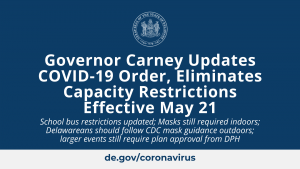 Governor Carney Updates COVID19 Order, Eliminates Capacity Restrictions Effective May 21