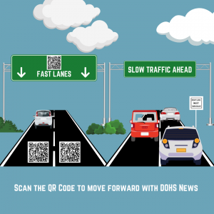 highway and signs demonstrating qr codes make getting to information faster