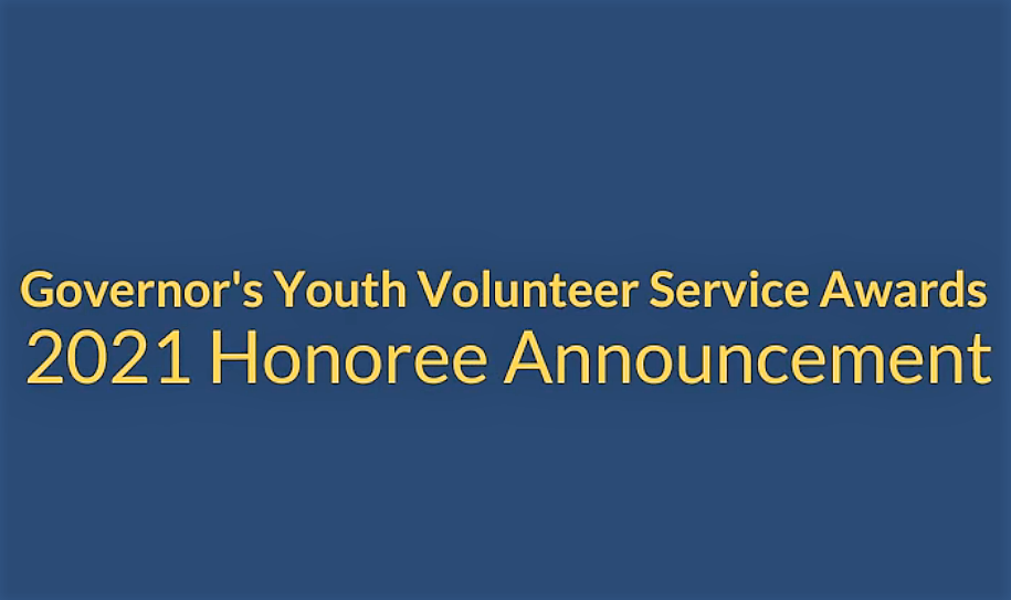 Youth Volunteer Service Award announcement graphic