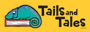 """Cartoon lizard on a book with text that reads """"Tails and Tales"""""""