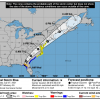 Map showing the forecasted route of Tropical Storm Elsa which tracks through Delaware.