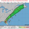 Map showing the forecasted arrival of Tropical Storm force winds as early as Thursday evening.