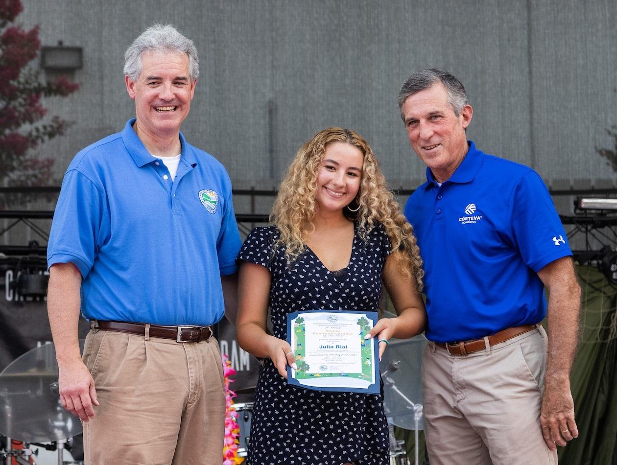 DNREC Secretary Shawn M. Garvin, High School Young Environmentalist Julia Rial and Governor John Carney