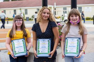 DNREC's 2021 Young Environmentalists, left to right, Maggie Wieber, Julia Rial and Rowan Smith