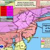 Excessive Rainfall Outlook showing moderate risk (flash floods likely) and slight risk south of Dover. from Dover north, and