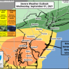 Severe Weather Outlook showing most of Delaware in the Enhanced Risk category for severe thunderstorms and tornadoes.