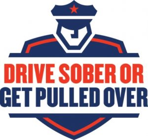 drive sober or get pulled over logo text with generic police officer looking at viewer in red and blue colors