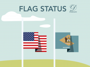 Illustrative American and Delaware State Flags at Half Staff to represent Flag Status