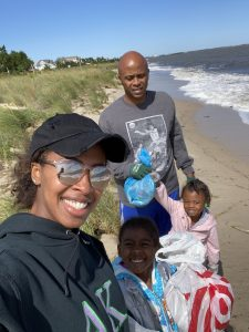 The Wallace family of Kent County collecting litter and trash at Slaughter Beach during the 2020 Delaware Coastal Cleanup