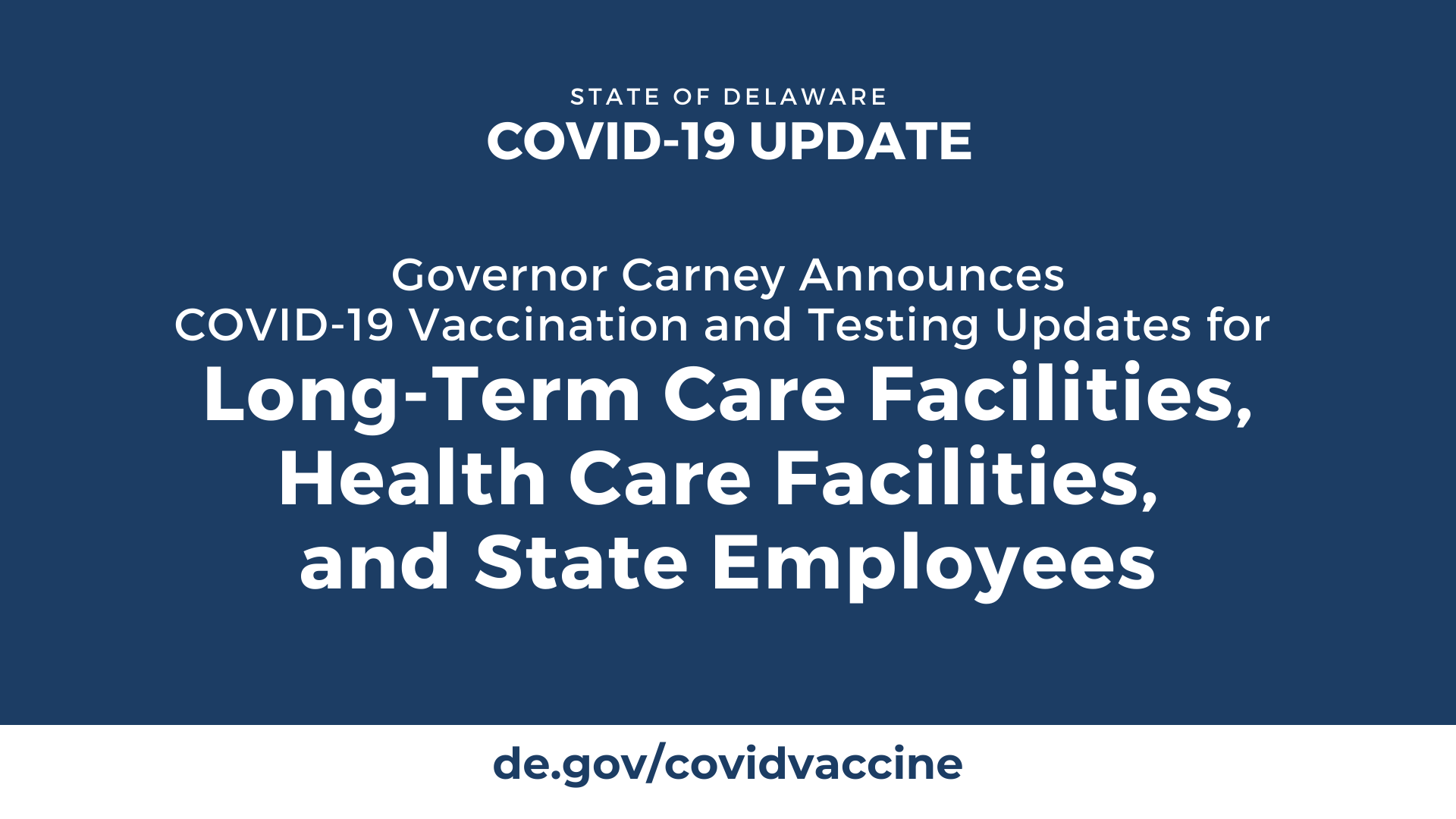 Governor Carney Announces COVID-19 Vaccination and Testing Updates for Long-Term Care Facilities, Health Care Facilities, and State Employees
