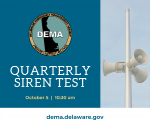 Image of a siren tower with the words Quarterly Siren Test October 5 at 10:30am and the DEMA logo