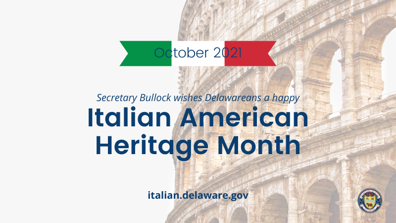 Graphic indicating that Secretary Bullock wishes all Delawareans a happy Italian Heritage Month